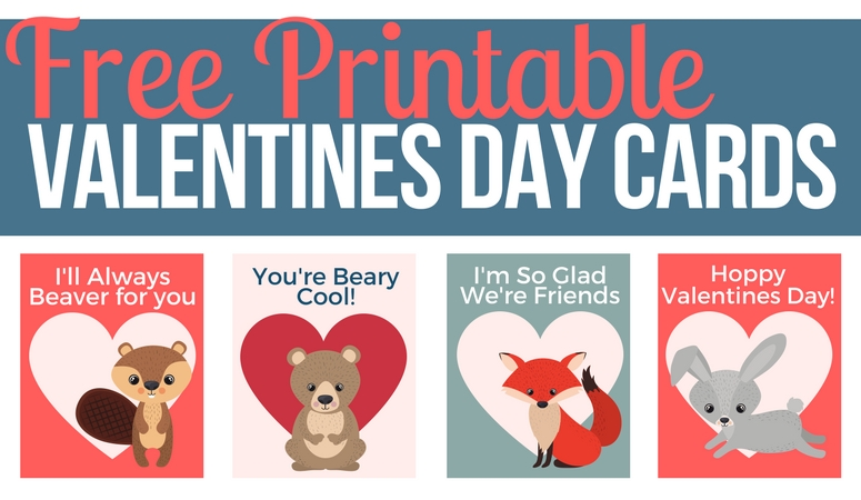 Valentines Day Forest Animal Printable Cards