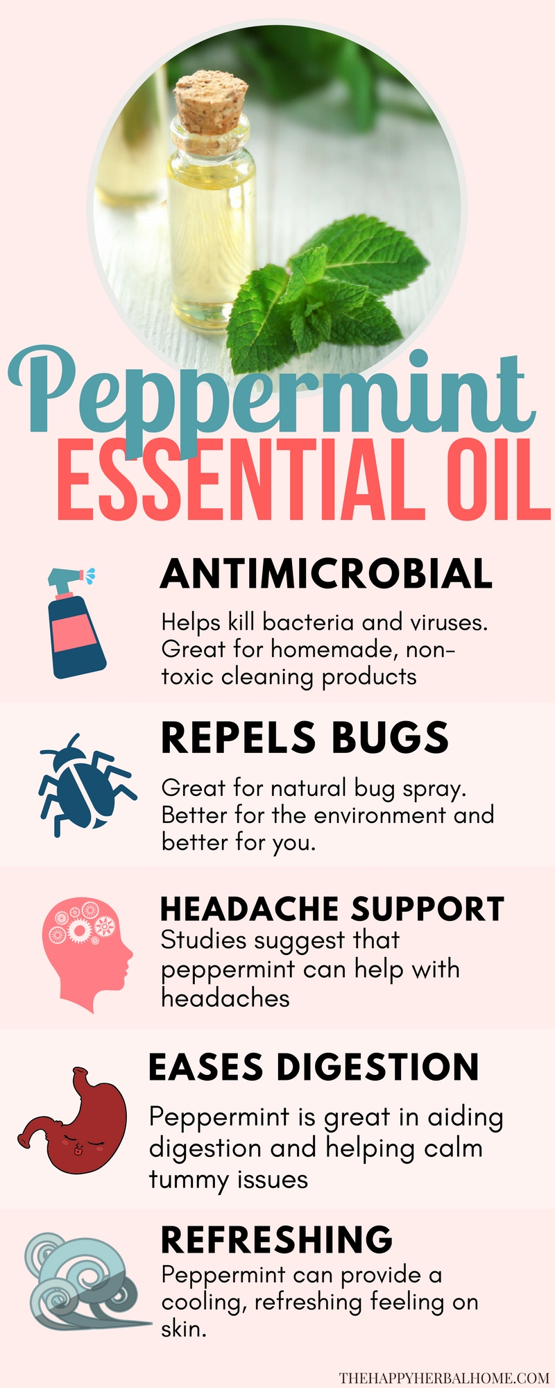 Peppermint essential oil benefits and uses. This natural remedy is great for repelling bugs, massage oils for achy muscles, headache relief